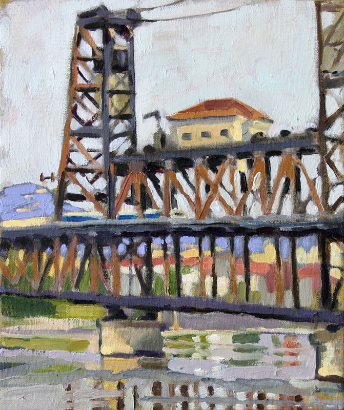 Oil painting Steel Bridge am by Shawn Demarest