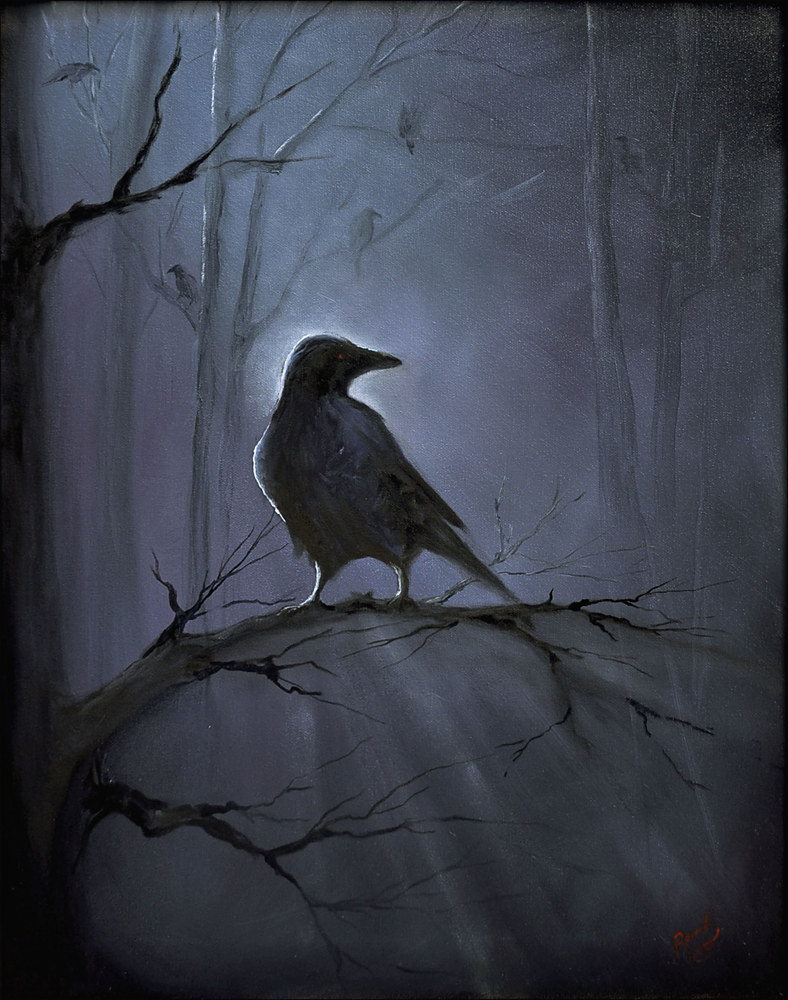 Oil painting Misty Raven  by Randi Evans
