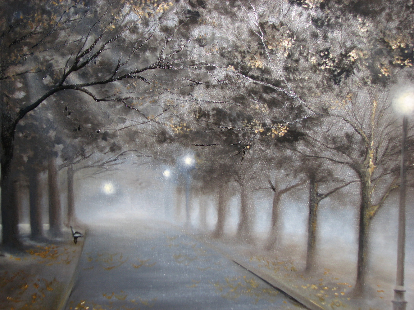 Oil painting Misty Park by Randi Evans