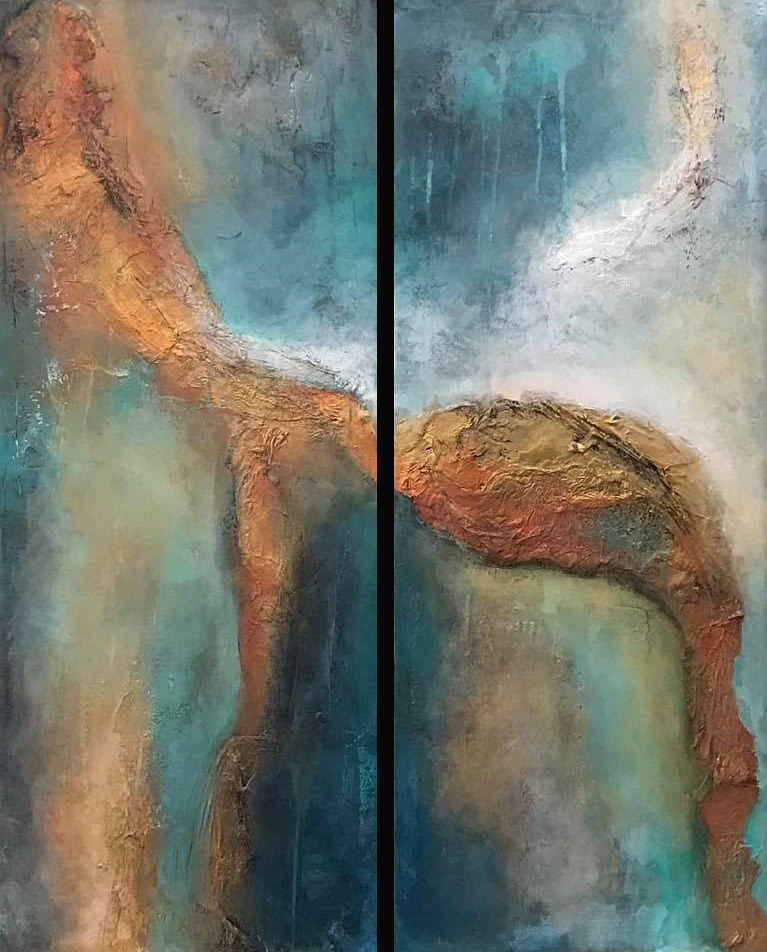 Acrylic painting Copper Illusion I & II by Ginger Thomas