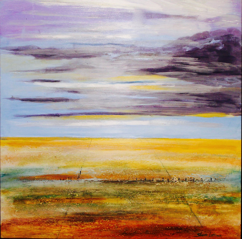 "Mixed-media artwork ""Endless"" This painting evokes the vastness of the West Texas I was growing up in the 1950's. It seemed that the horizon went on forever. by Steve Latimer"