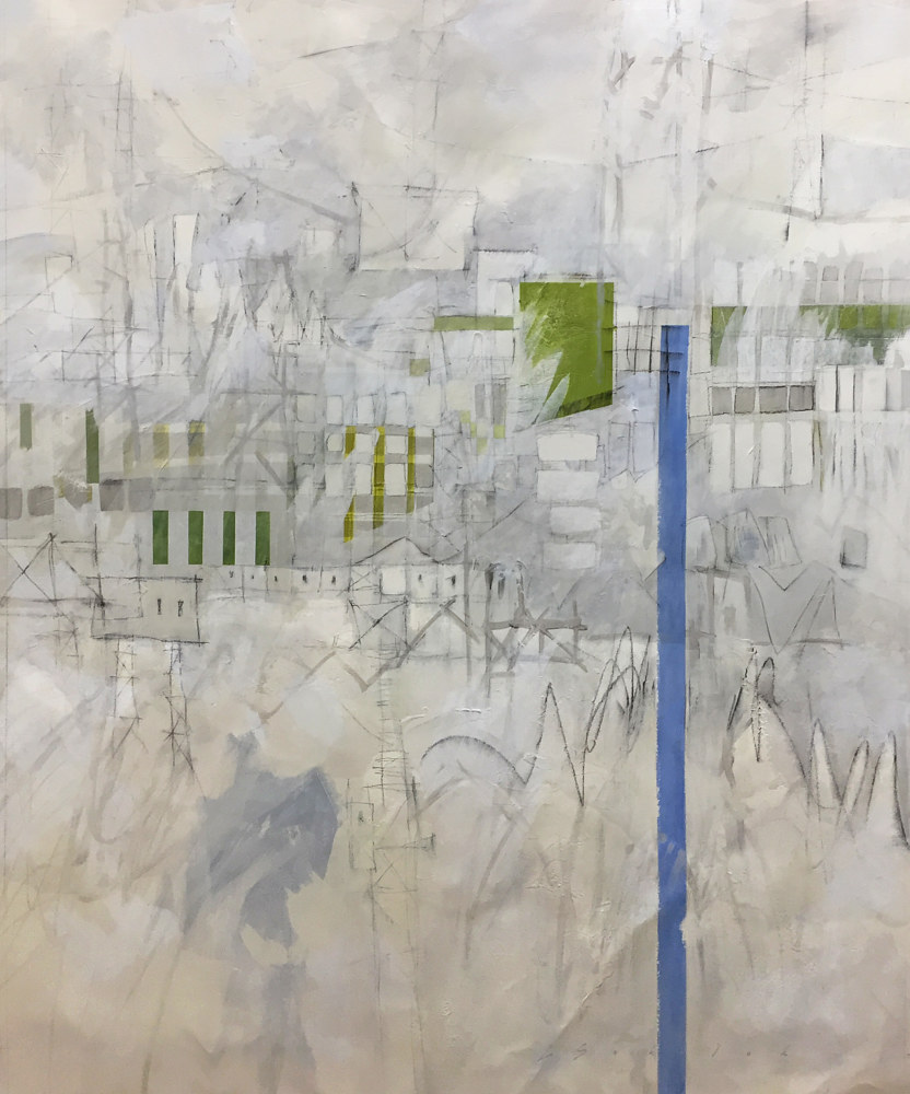 Mixed-media artwork Port City by Lori Sokoluk