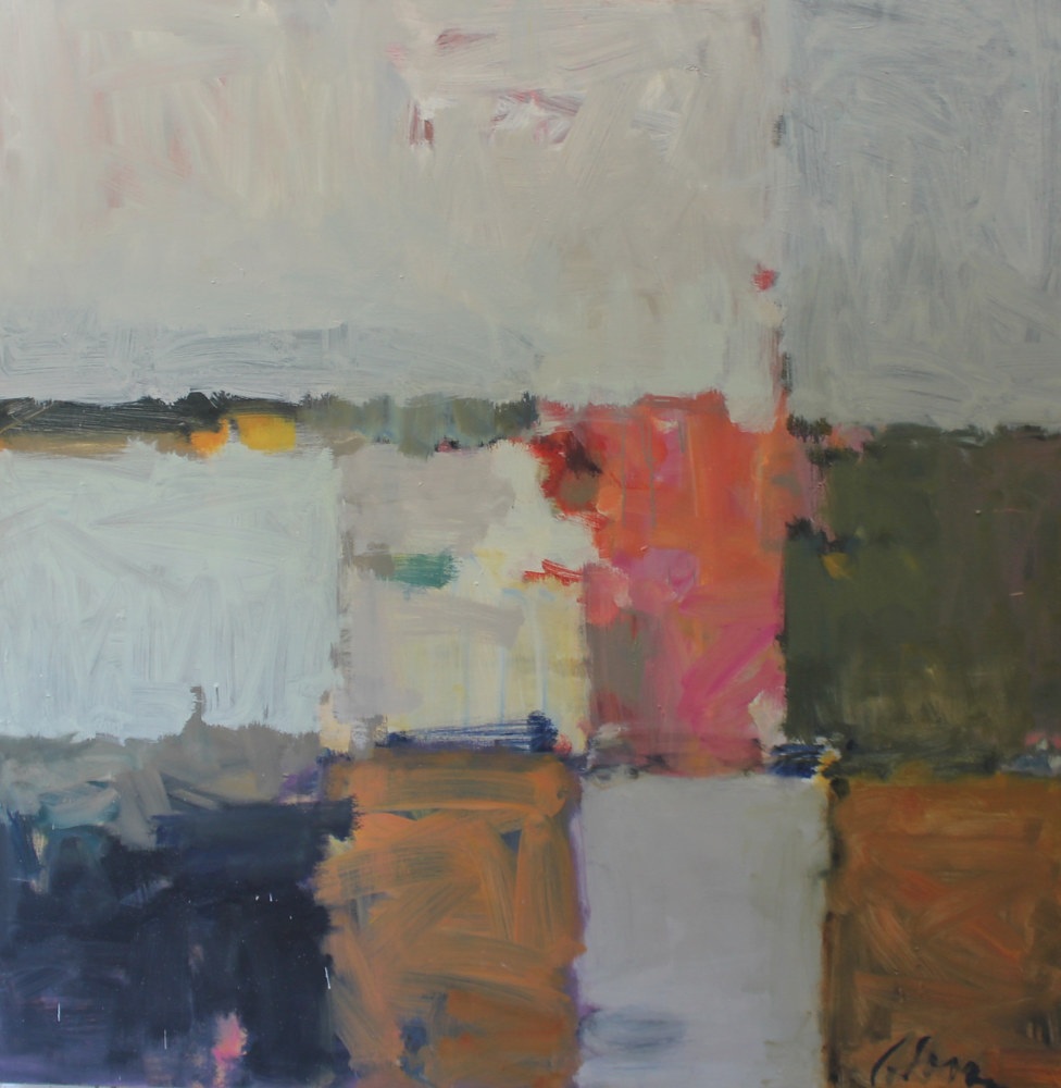 "Abstract With Peach, oil on canvas, 48"" x  48"" by Susan Horn"