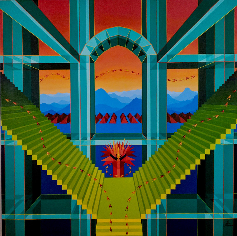 "Acrylic painting ""The Emerald Palace of Dreams"" by Jon Harris"