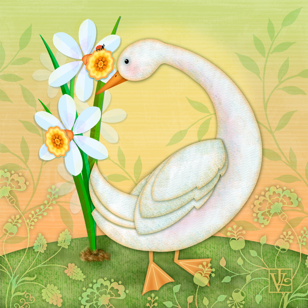 D is for Duck and Daffodils by Valerie Lesiak