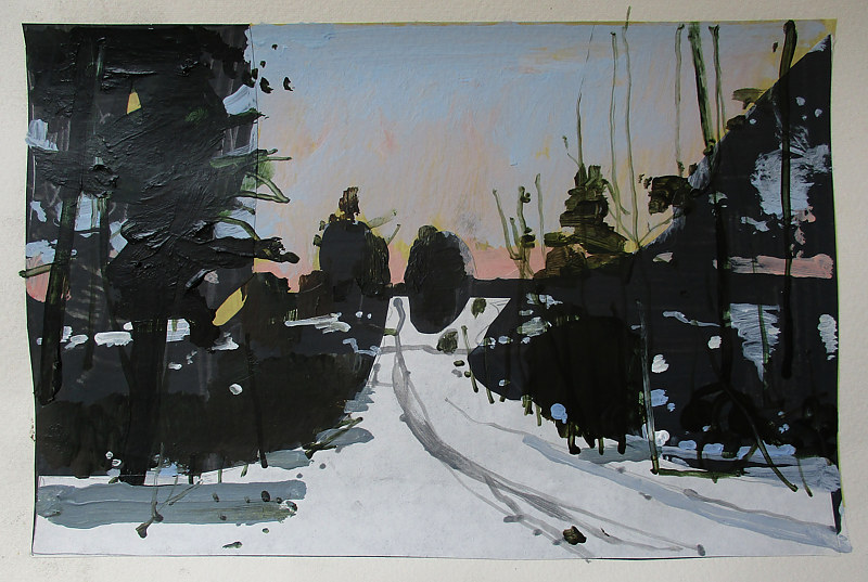Acrylic painting Dusk, February 12 by Harry Stooshinoff