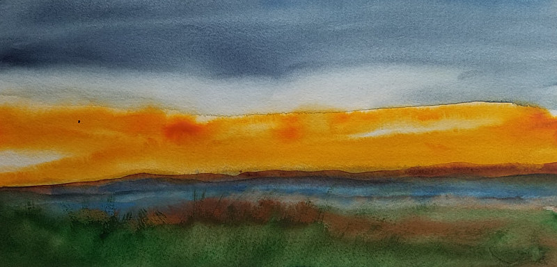 "Sunset over fields 4"" x 12"" by Lisa Tomczeszyn"