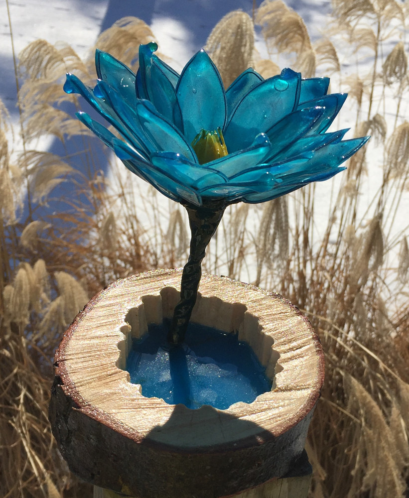 Acrylic painting Blue Lotus With Maple Ring Pond by Steven Simmons