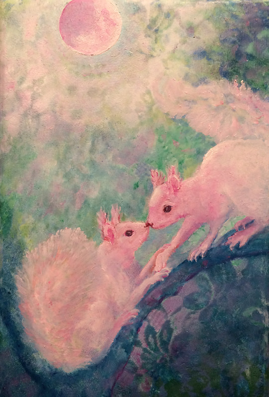 Print Blushing the moon pink with their kissing by Frederica  Hall