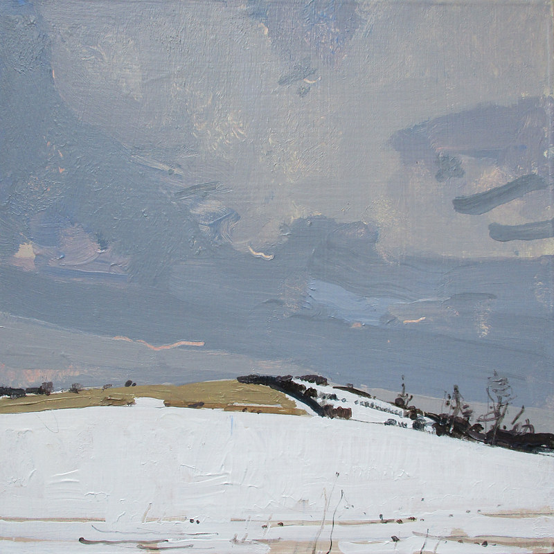 Acrylic painting Snow Fields, Bailieboro by Harry Stooshinoff