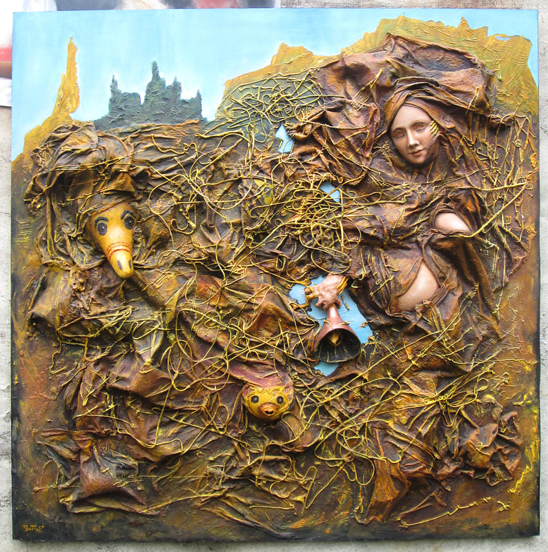 Mixed-media artwork Entangled by Ron Buttler