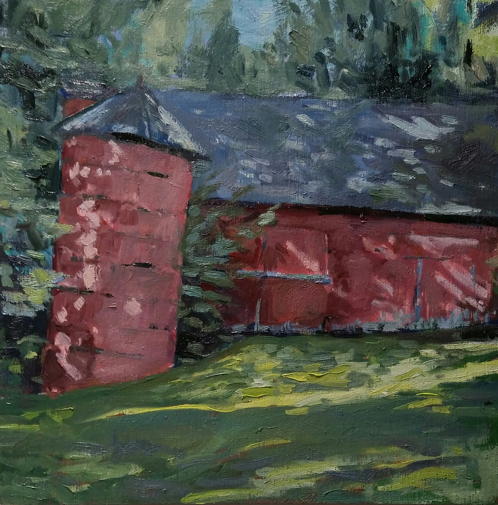 Barn on Hulls falls rd.  10x10in oil  by Michael  Gaudreau