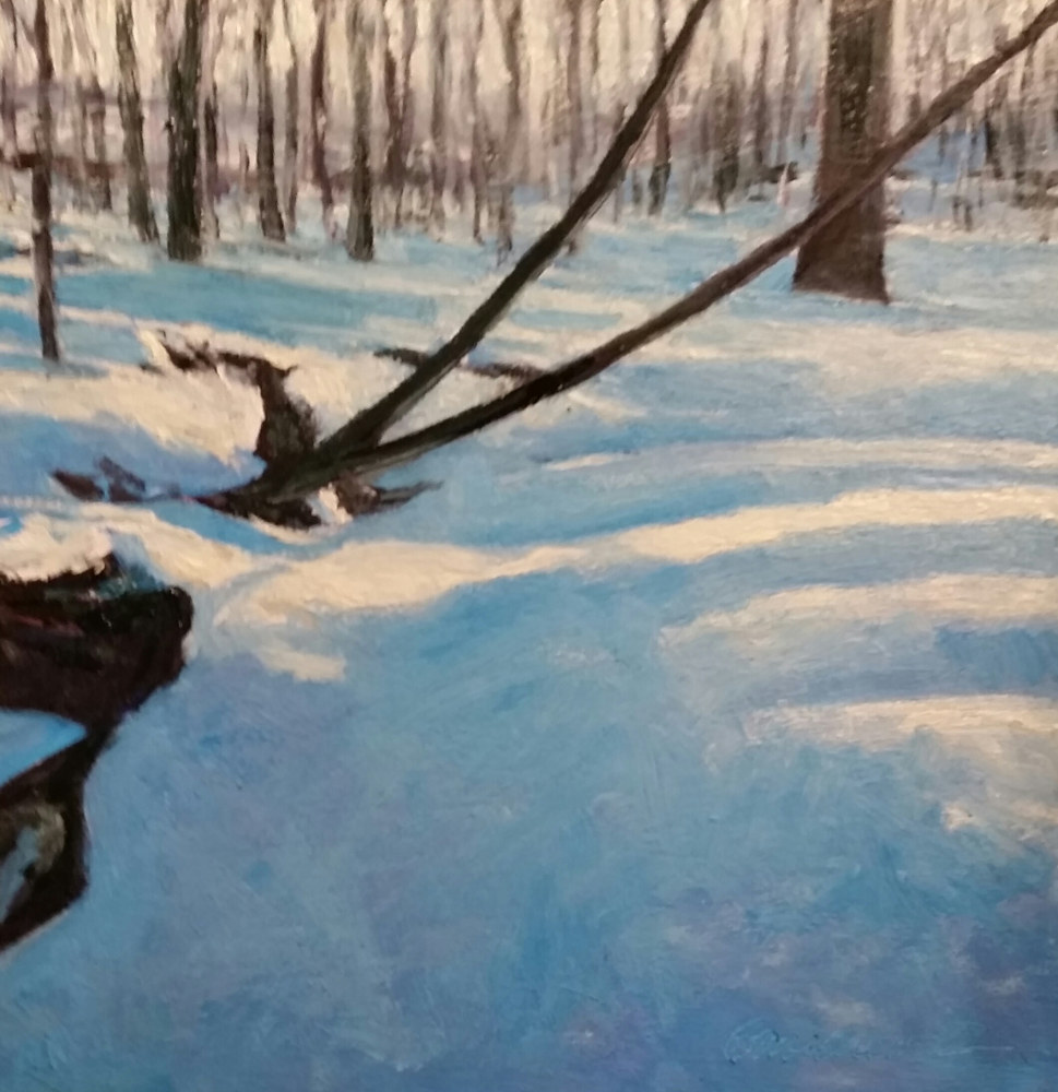 Oil painting winter stream  by Michael  Gaudreau