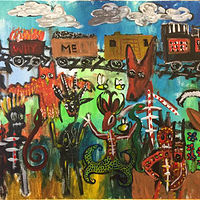 Acrylic painting Why Me Train by Diane Green
