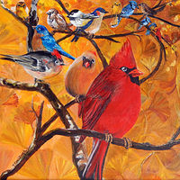 Acrylic painting Angry Birds in the Garden by Terry Cox-Joseph