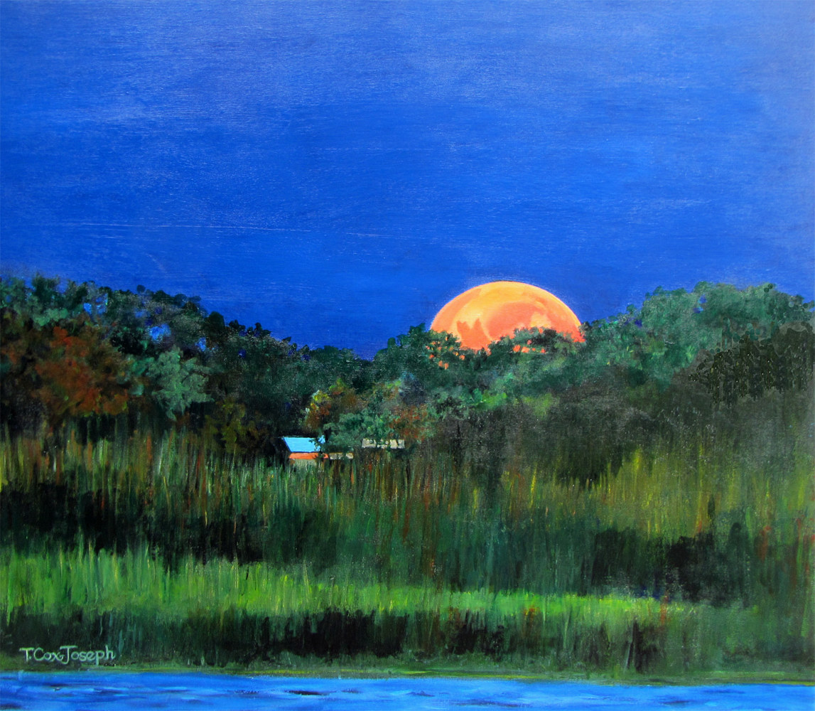 Acrylic painting Strawberry Moon Warwick River by Terry Cox-Joseph