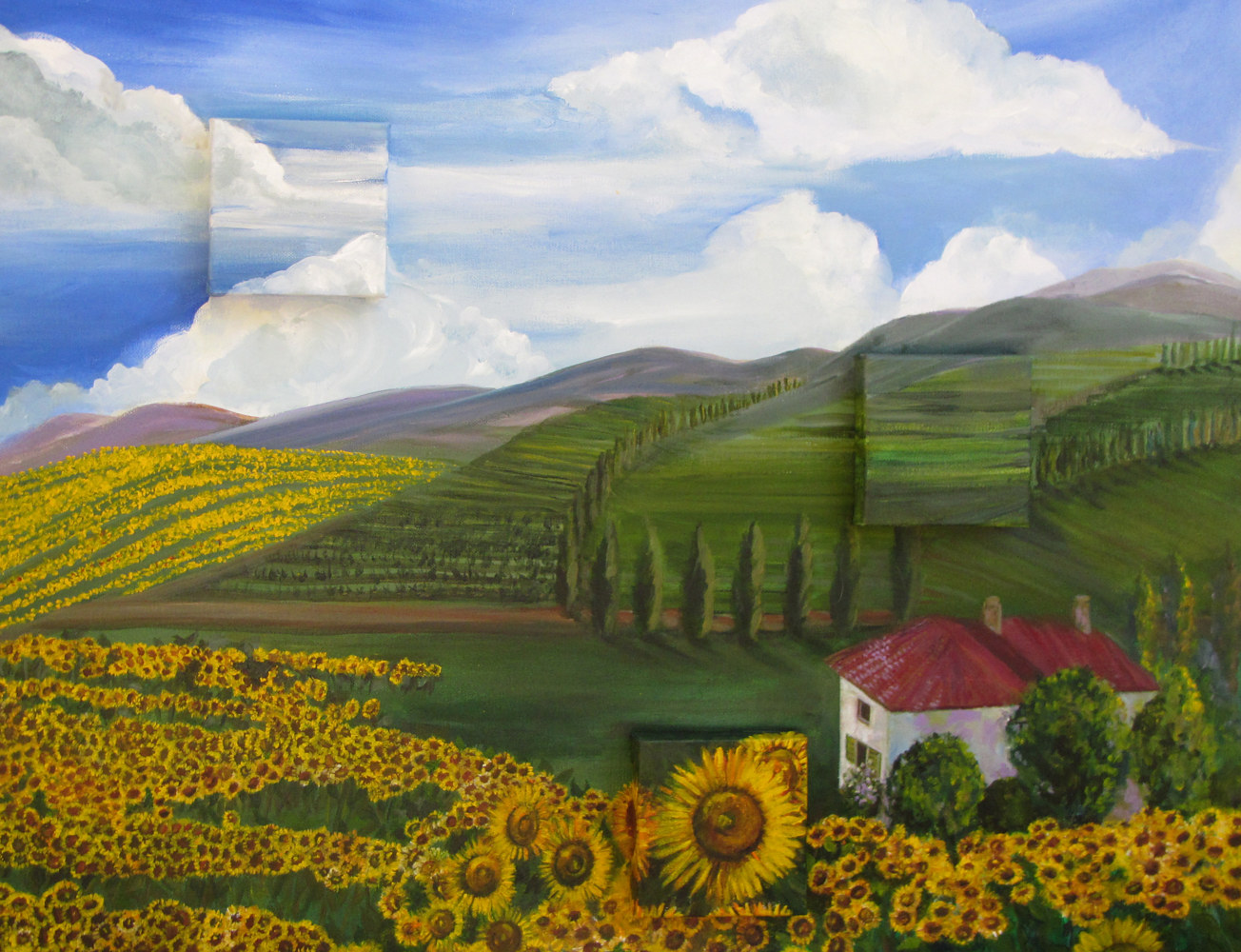 Acrylic painting Tuscany 3D by Terry Joseph