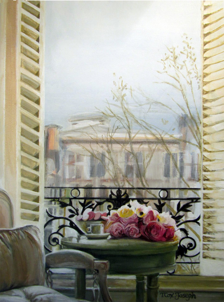 Watercolor Roses on the Balcony in Paris by Terry Cox-Joseph