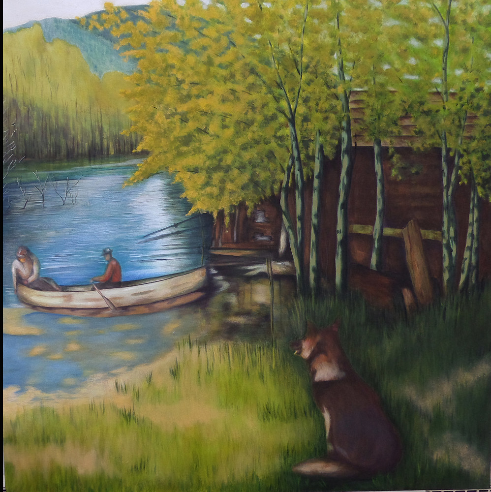 Acrylic painting Going Fishing by Rick Gillis