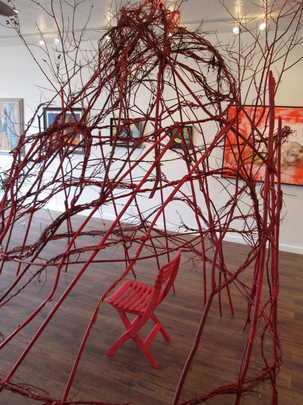 Red Cage, Performance/ installation , Exhibition, Flagstaff Modern and Contemporary Gallery (FMAC) 2016 by Frederica  Hall