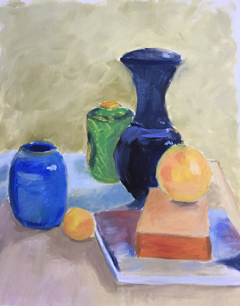 Oil painting Grapefruit with Black Vase by Cynthia Nockold