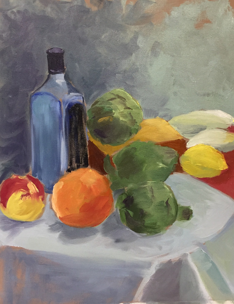 Oil painting Still Life With Blue Bottle by Cynthia Nockold