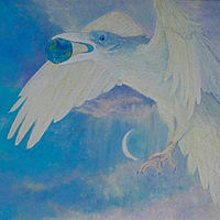 early dawn the moon dreams the white raven flying away with the earth by Frederica  Hall