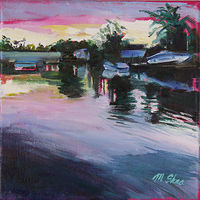 Oil painting looking east over the bridge  by Madeline Shea