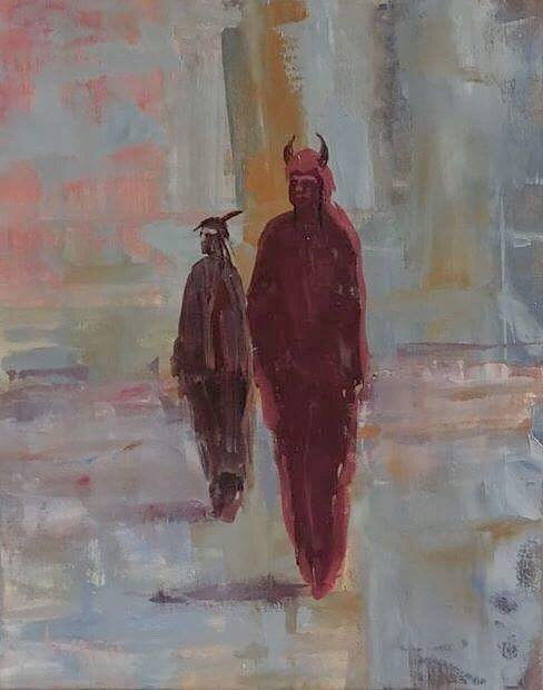 Oil painting Buffalo Men by Larry Carter