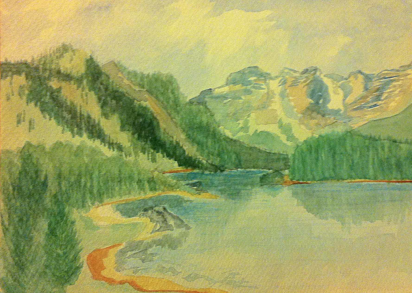Watercolor COLORADO MOUNTAIN LAKE by Anastasia O'melveny