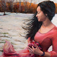 "Oil painting ""Caught in the Wind"" by Betty Ann  Medeiros"