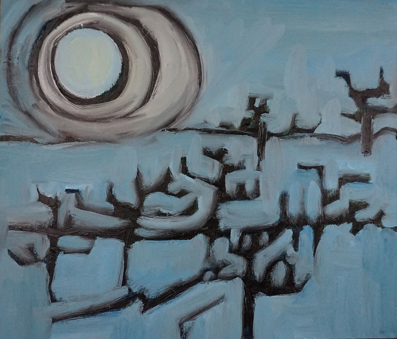 Oil painting full moon orchard by Michele Ridgeway