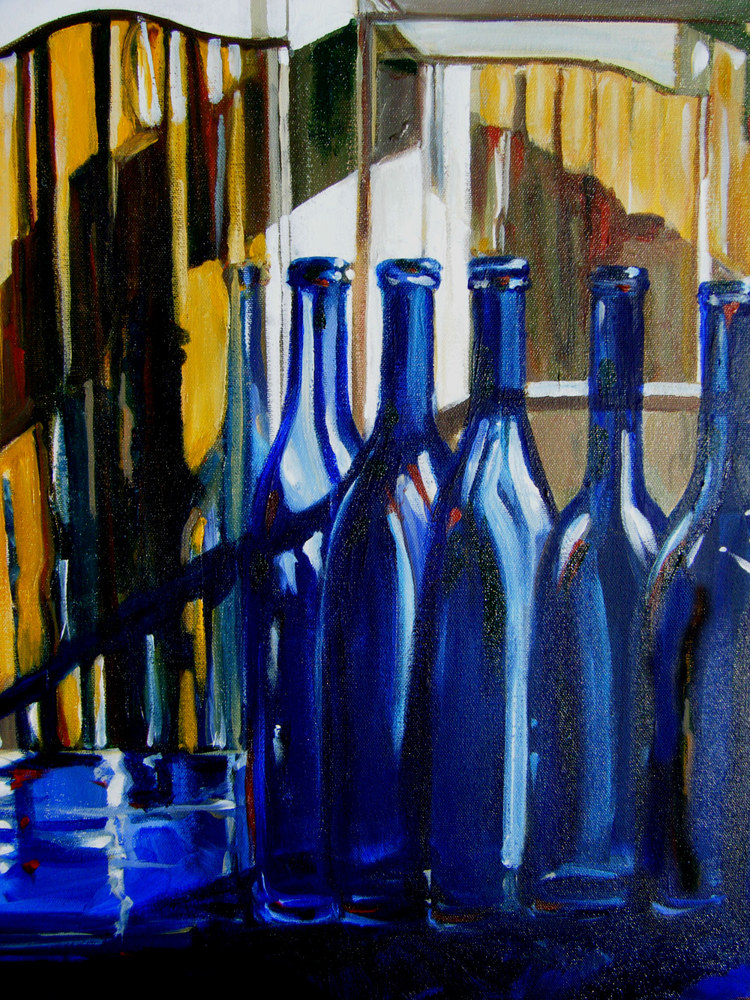 French Country Cobalt Bottles by Terry Joseph
