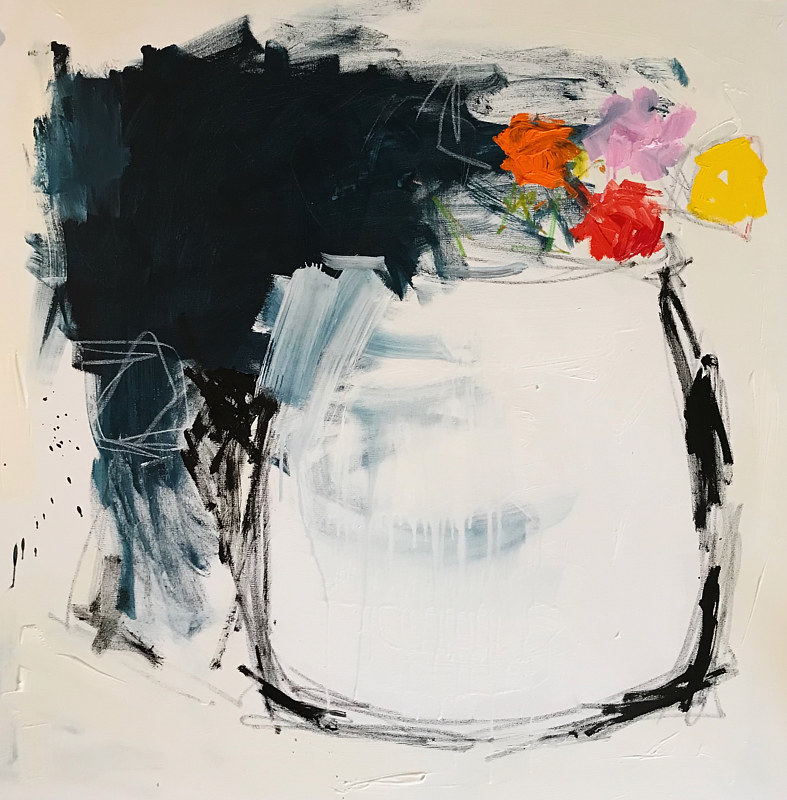 Acrylic painting Flower Pot by Sarah Trundle