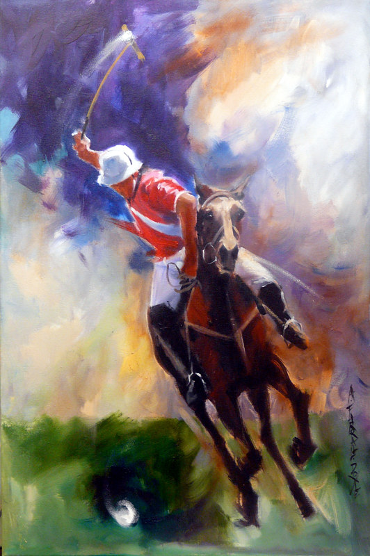 First Goal 30x20 oil on canvas by Anne Farrall Doyle