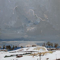 Acrylic painting March Snow by Harry Stooshinoff