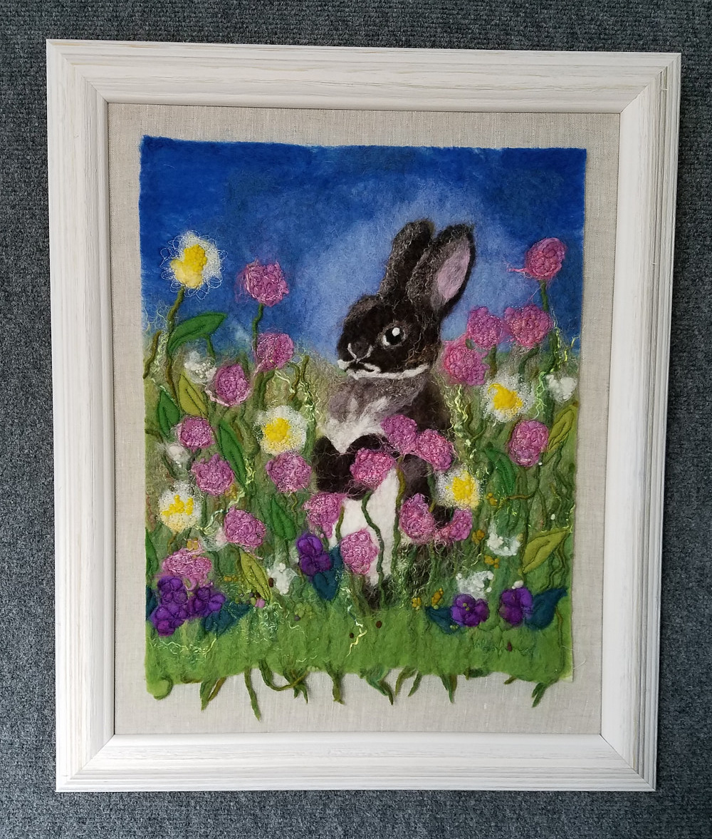 Bunny in flowers by Valerie Johnson