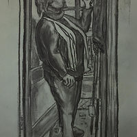Drawing self-portrait in a mirror by Anastasia O'melveny