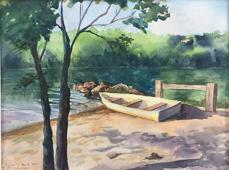 Watercolor Squantz Pond, New Fairfield, CT. by Betty Ann  Medeiros