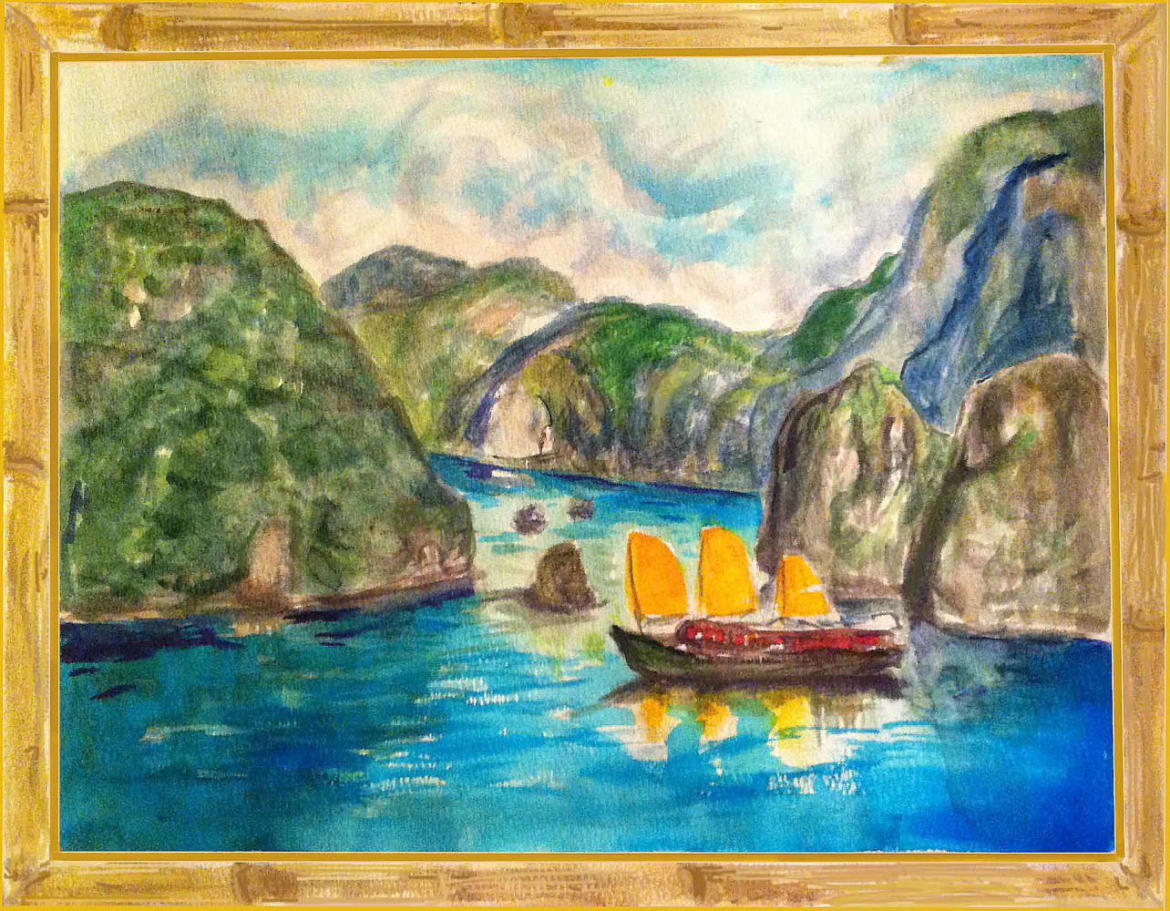 Painting Ha long bay, Vietnam by Anastasia O'melveny