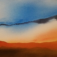 Watercolor Sunset Mojave  by Lisa Tomczeszyn