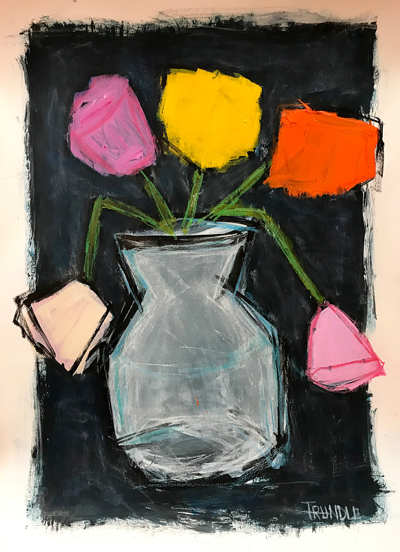 Acrylic painting Pops of Color: Flowers in a Vase II by Sarah Trundle
