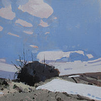 Acrylic painting Snow Patch, Little Stand by Harry Stooshinoff