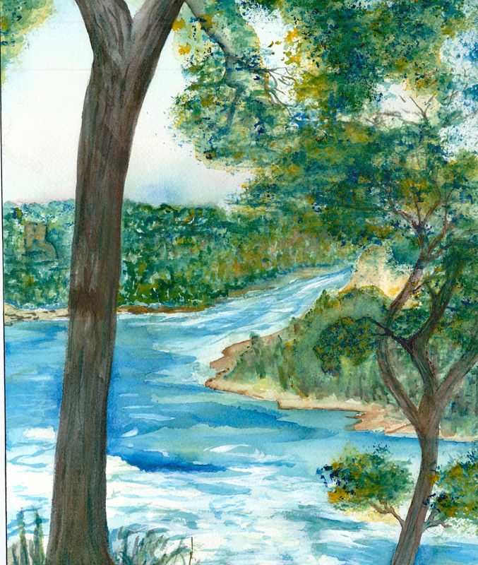 "Print ""Trees Over the River"" by Jeanne McMenimen"