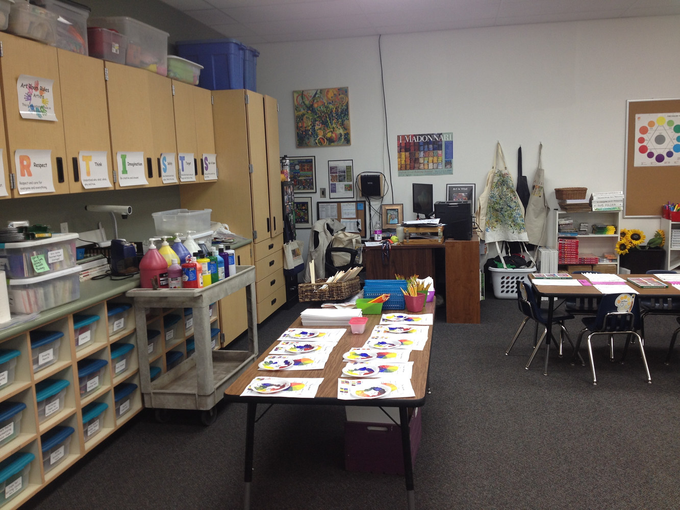 Prep Table at the back of the room in a designated Art Room (2017) by Linnie (Victoria) Aikens Lindsay