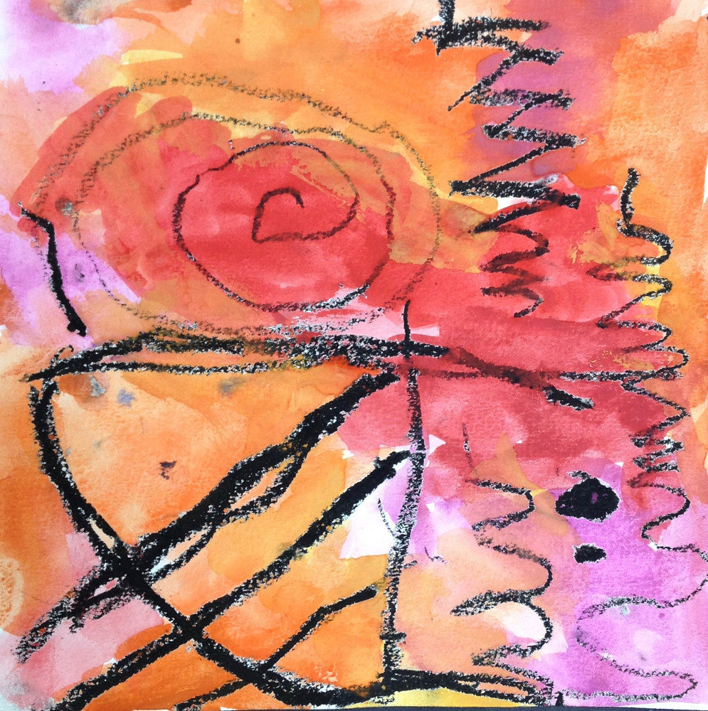 Gr. K Watercolor Abstract with 8 types of lines by Linnie (Victoria) Aikens Lindsay