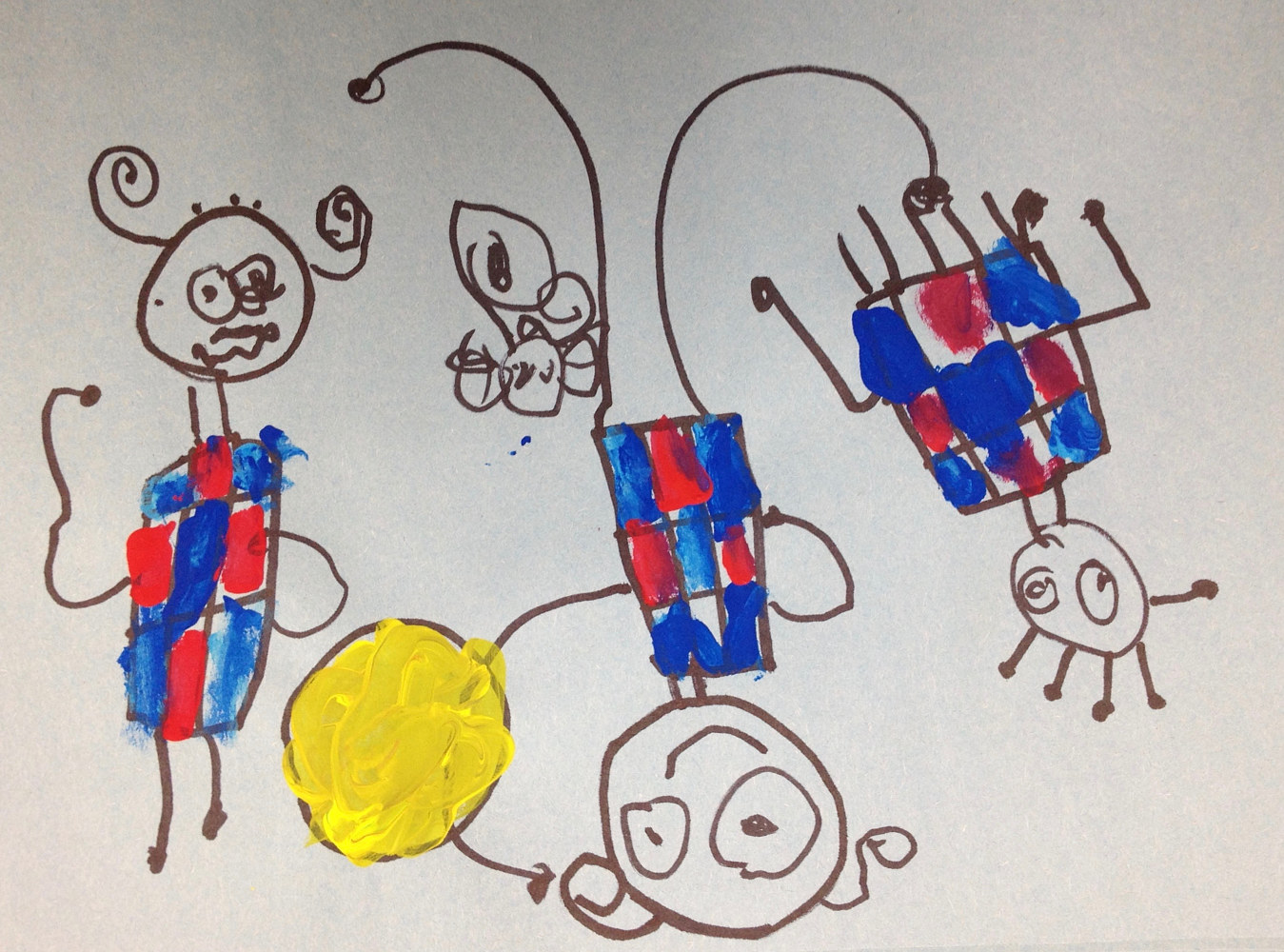 Gr. K—Joan Miró-like Children Playing Painting by Linnie (Victoria) Aikens Lindsay
