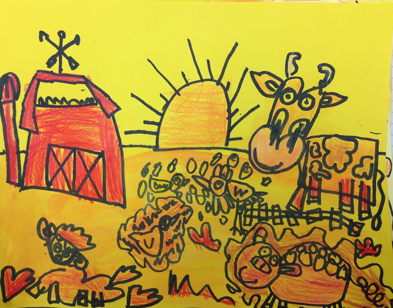 "Gr. K—""Warm/Cool - Day/Night Farm Life"" by Linnie (Victoria) Aikens Lindsay"