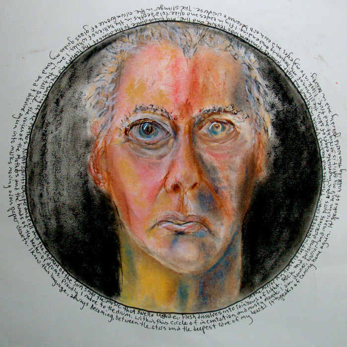 Drawing Self Portrait Tondo by John Clinock