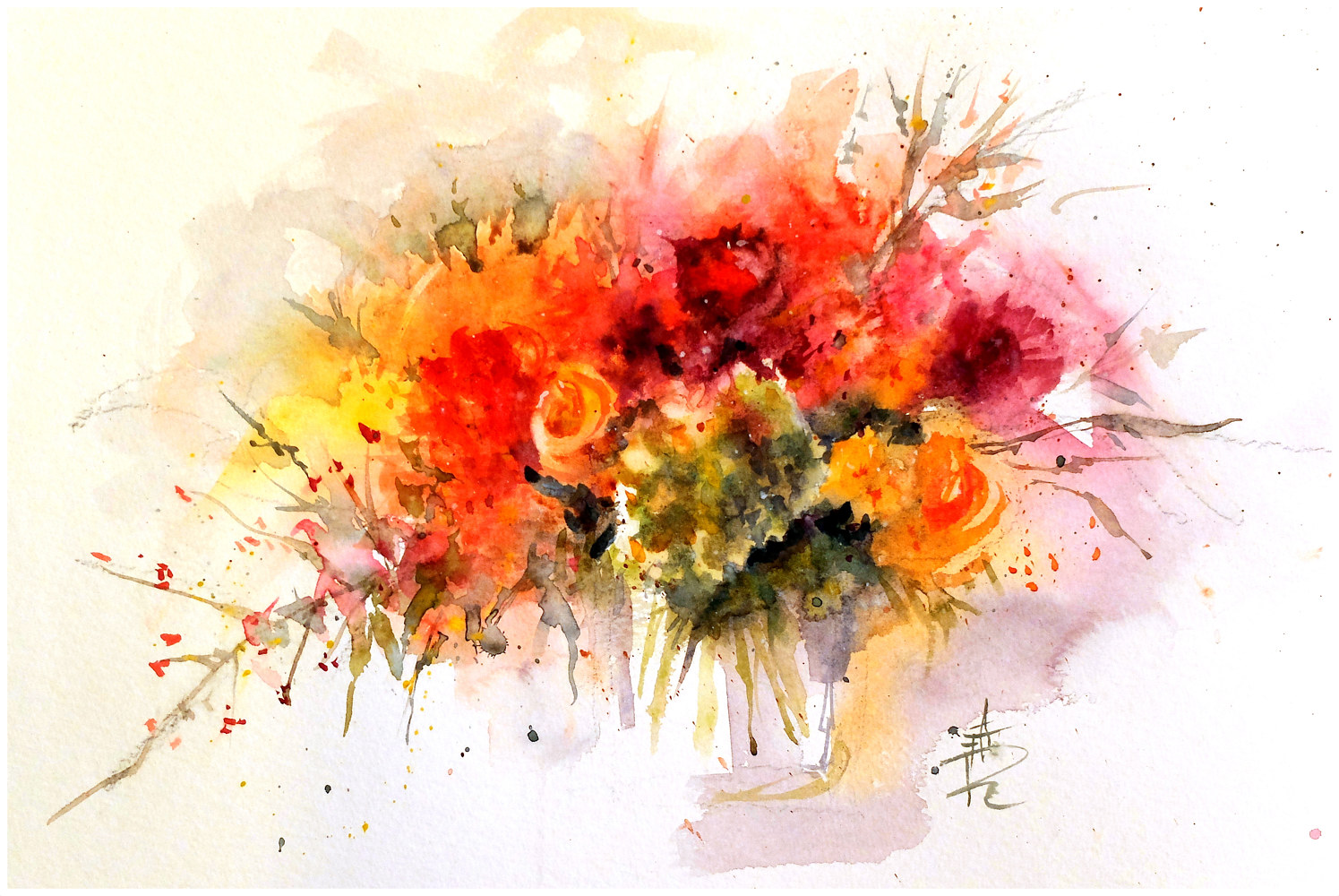 July bouquet, 16x20 watercolour by Anne Farrall Doyle